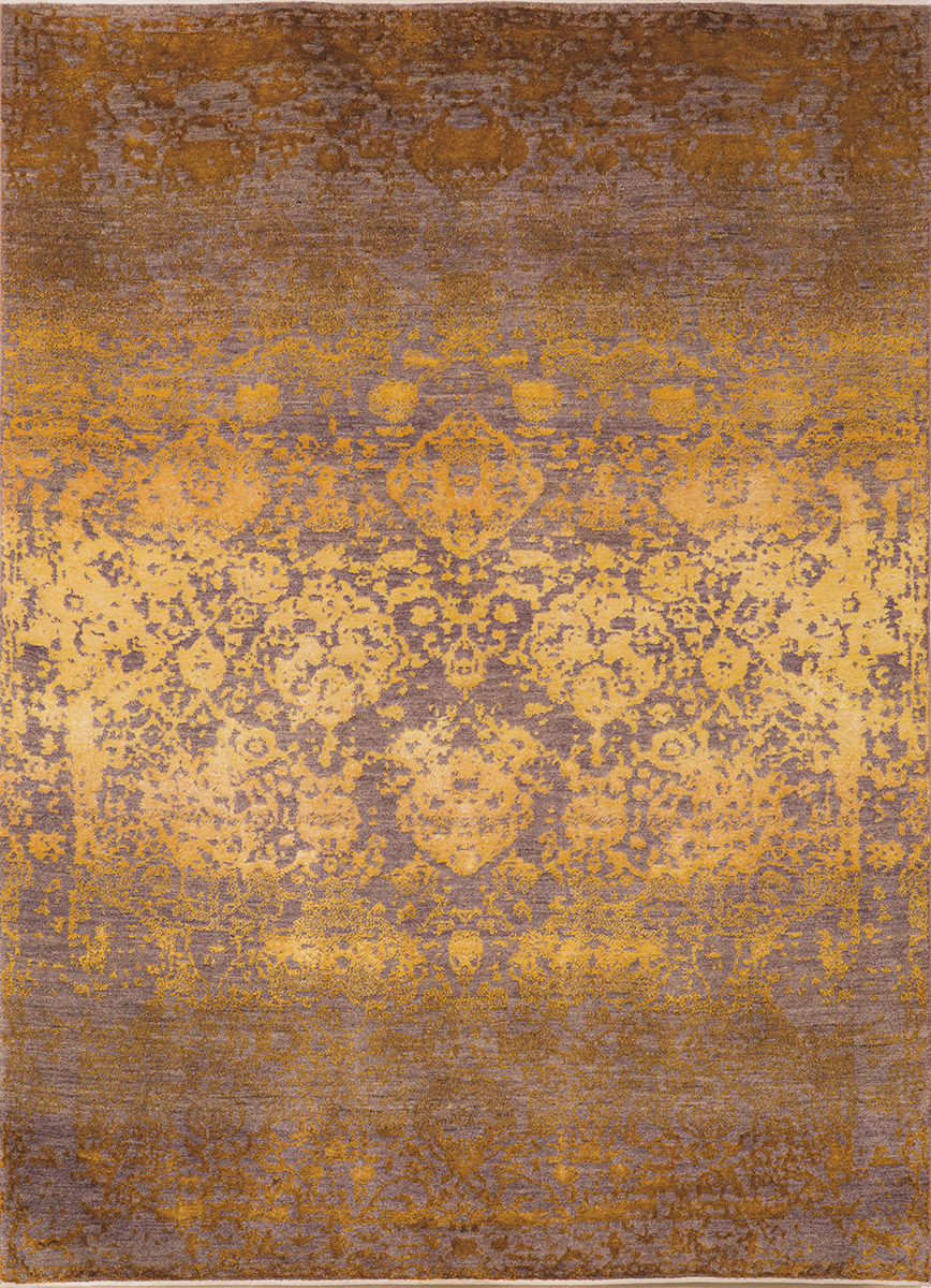Abrashed Floral Cartouches  Hues Of Gold On Silver Grey  Designer Isfahan  236X172 Kopie Kopie