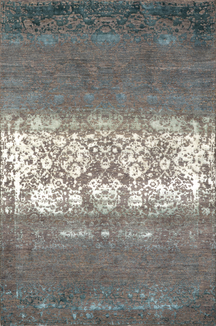 Abrashed W Floral Cartouches In Blues  Violets  Greys  Designer Isfahan Collection  219 X 308Cm Kopie