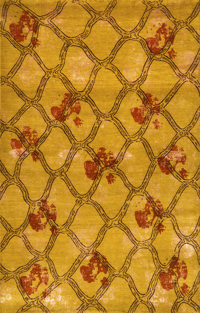 Anar Dar Sabad On Abrashed Deep Yellow Ground  Designer Isfahan  198 X 310Cmw