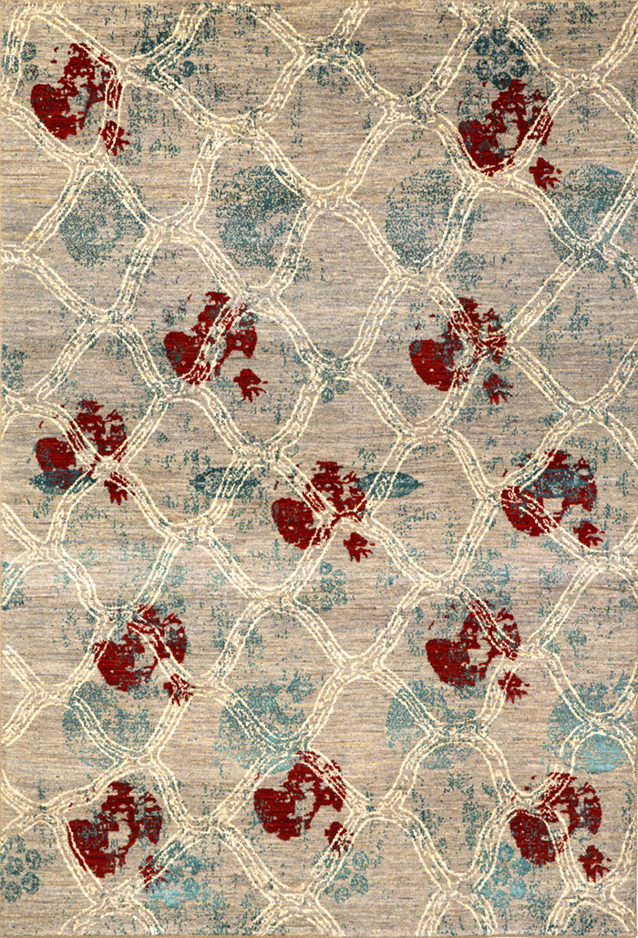 Anar Dar Sabad On Abrashed Grey Ground 1  Designer Isfahan  163 X 240Cmw
