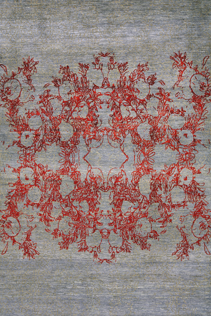 Anar Dar Toor In Red  Blue Grey  Designer Isfahan  198 X 303Cmw