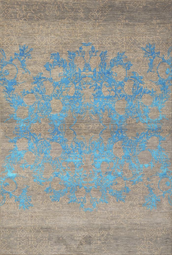 Anar Dar Toor In Turquoise  Designer Isfahan  163 X 240Cmw
