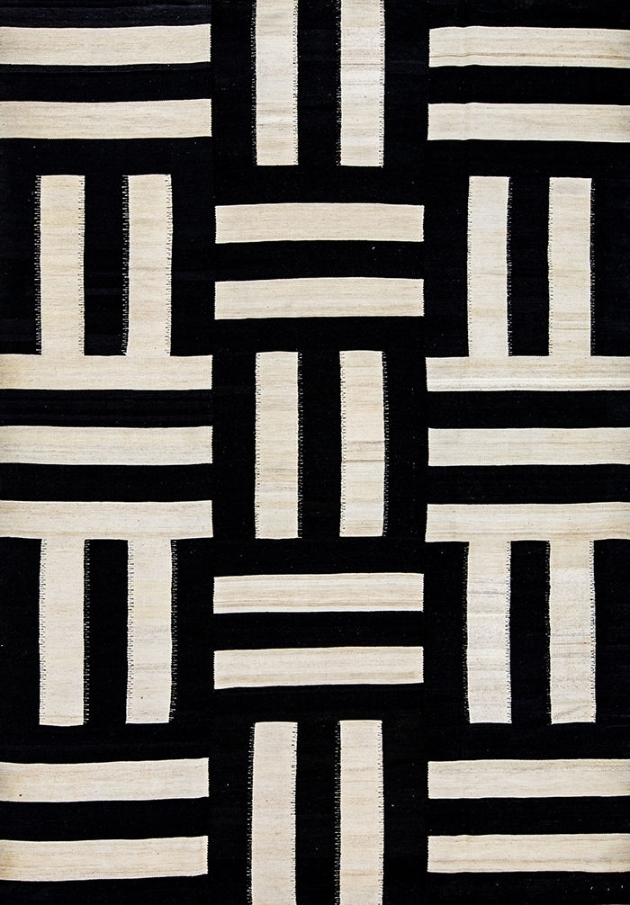 Art Deco Jigsaw Baneh Kelim WEB Flatweaves Minimalist 217 x 310cm