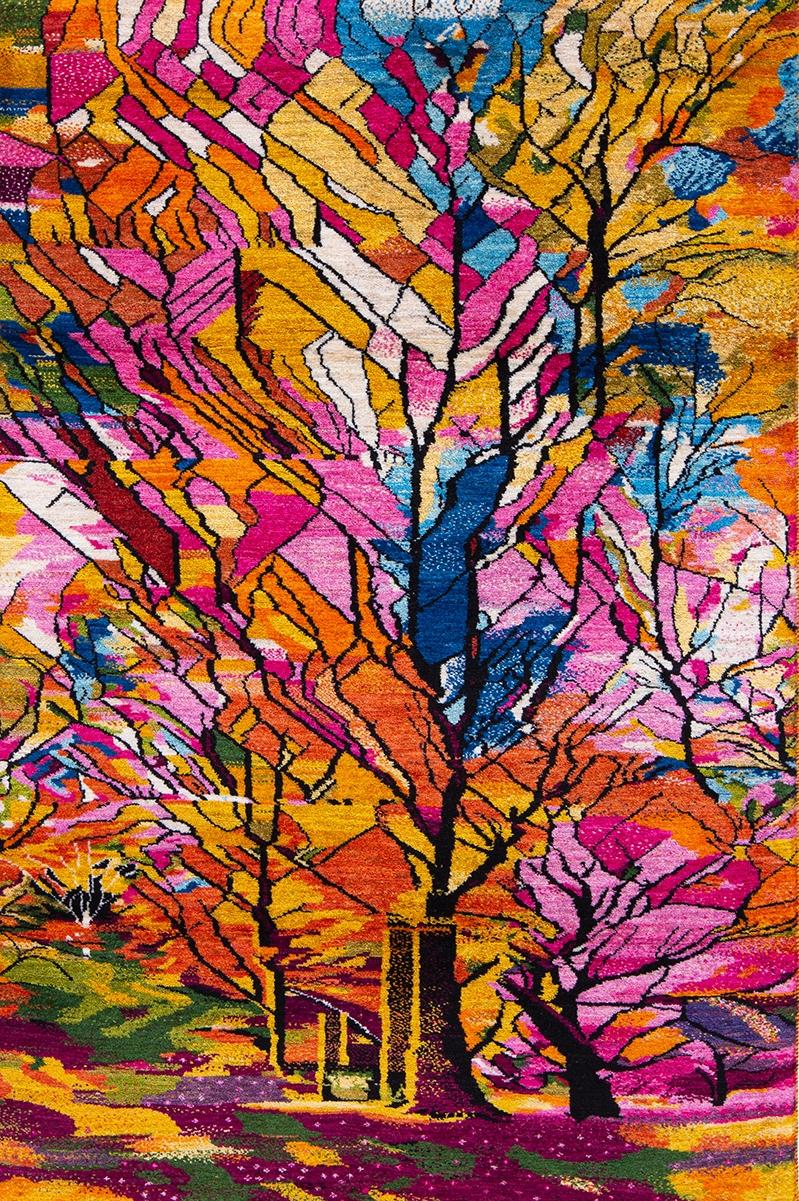 Autumnal Arboretum web Stain Glass Collection Zollanvari Studio Kashkuli 115 x 175cm