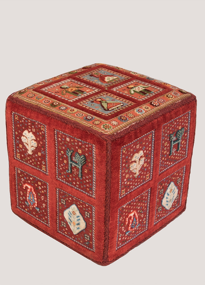 Cube coffer web3 to be used as stool or table Afshar Baluch Soumak sides and top contemporary l45 w45 h45 cm