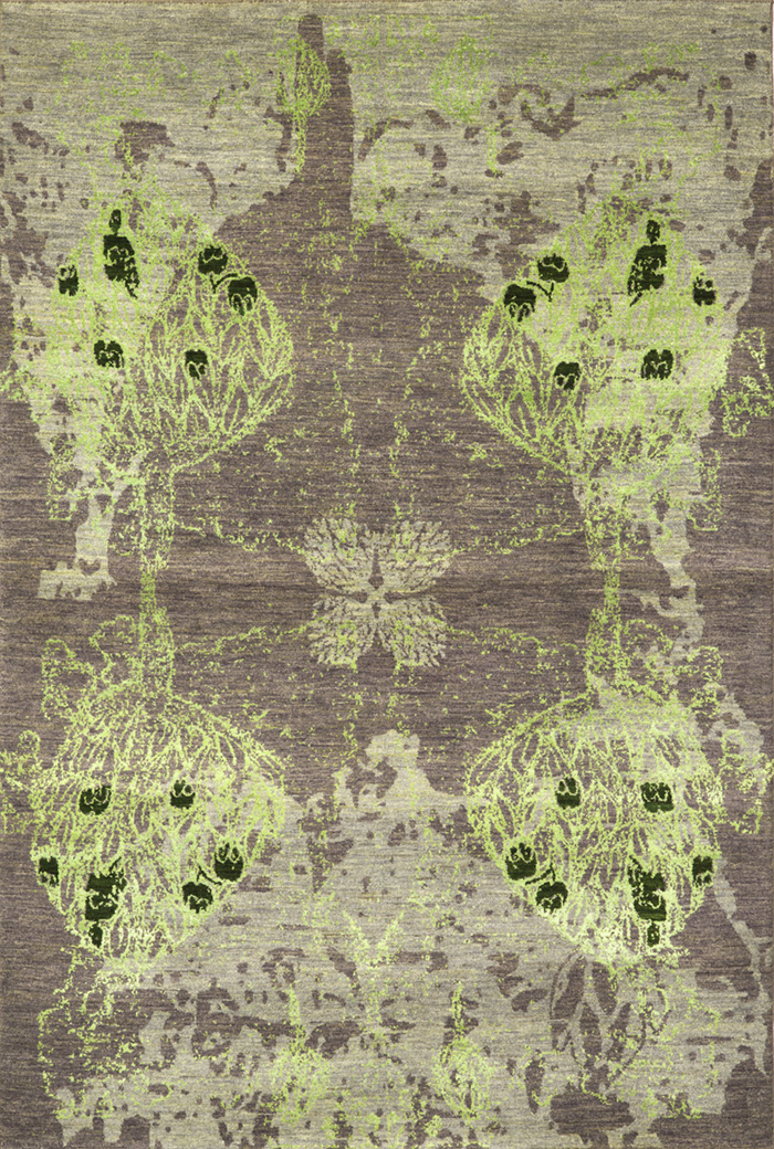 Derakhte Anar In Grey  Lime And Racing Green 1 (Vertical)  Designer Isfahan  160 X 238Cmw