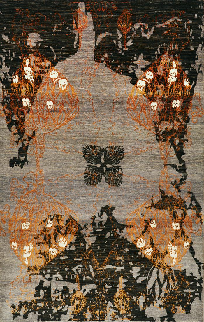 Derakhte Anar In Lilac Grey  Black  Orange 1A  Designer Isfahan  103 X 192Cmw