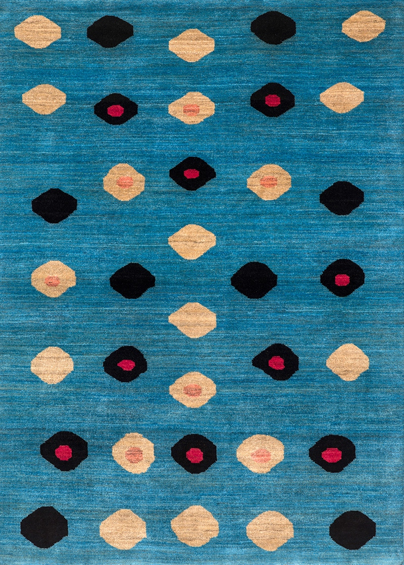 Ellipse Web Pale Gold Black Fuchsia On Blue Retro Collection Gabbehs Geometric