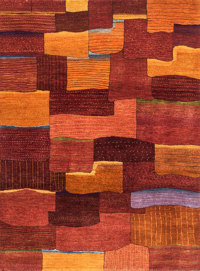 Erratic Tiles In Red  Orange  Gabbehs Geometric  221 X 300Cmw