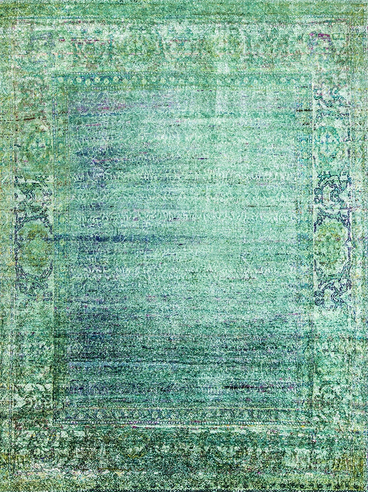 Ghosted Field In Greens Blues Web Kundan Pure Silk® Ethos 267 X 350Cm