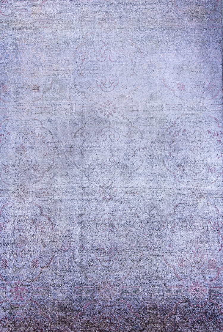Ghosted Peonies Cartouches Web Kundan Pure Silk® Akod 256 X 378Cm