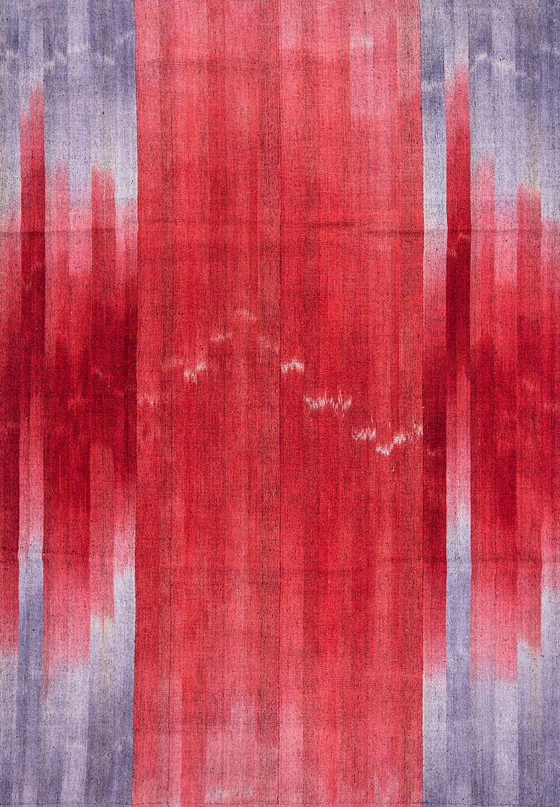 Ikat Kelim Web In Reds Blue Greys Flatweaves Minimalist 209 X 298Cm