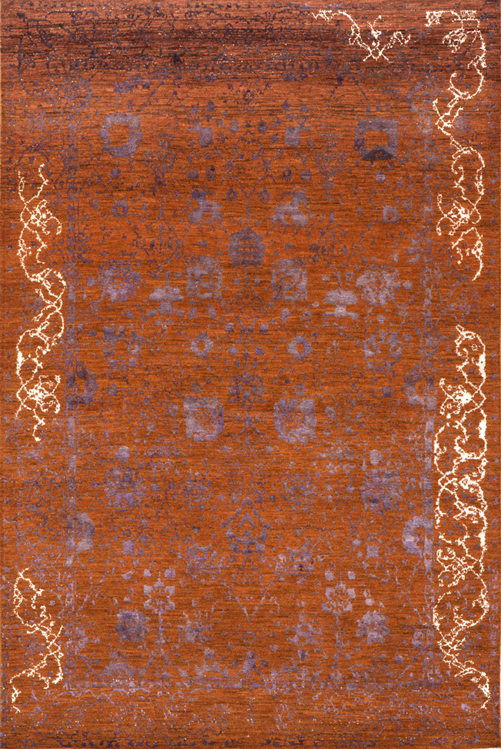 Jeziorak In Orangew  Violet  White  Designer Isfahan Collection  163 X 245Cm