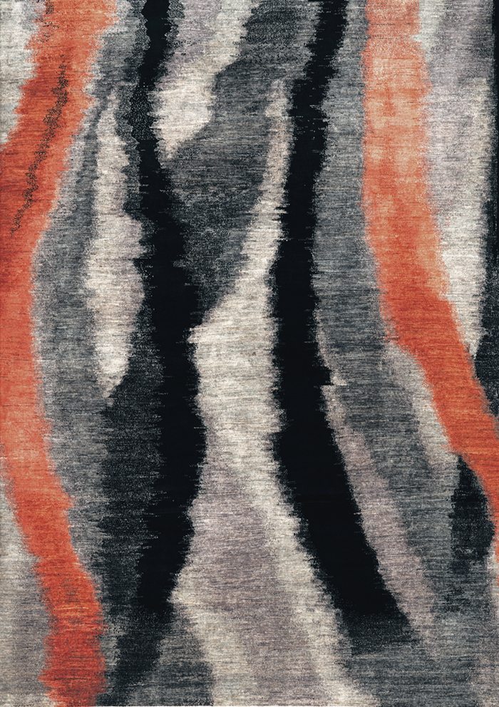 Kyoto Shibori In Black  Greys  Orange  Gabbehs Abstract  Plain  209 X 298Cm1