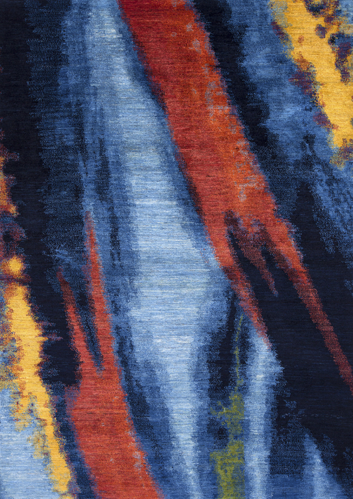 Kyoto Shibori In Blues  Reds  Yellows  Gabbehs Abstract  Plain  166 X 239Cm
