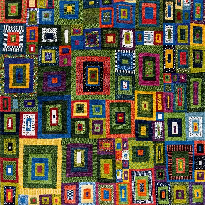 Licorice All Sorts Gabbeh 4 web Squares Revisited Gabbehs Geometric Kashkuli 158 x 156cm