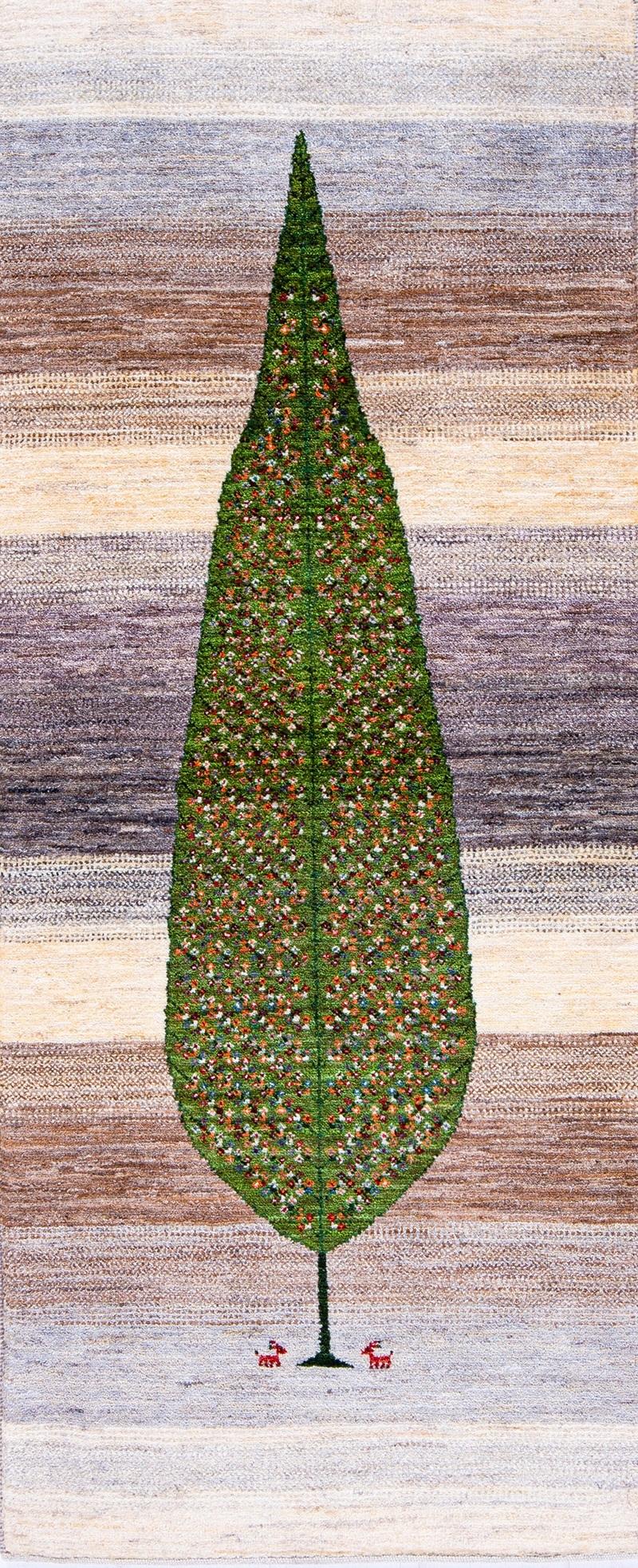 Modernist Tree of Life Runner 5 web Gabbehs Flora Fauna Amaleh 82 x 197cm