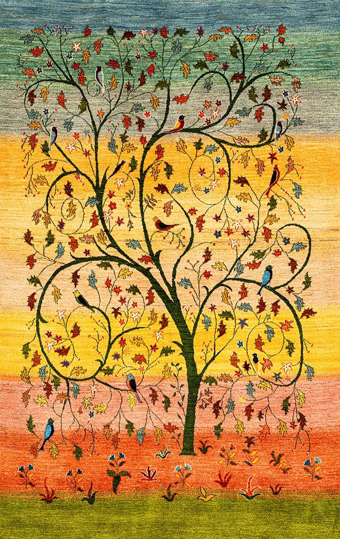 Prancing Tree of Life Spring web Gabbehs Flora Fauna 170x240cm