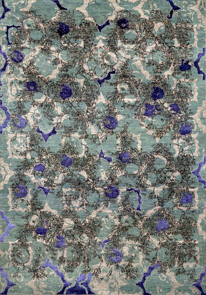 Shakhe Anar Poshte Panjere On Abrashed Pale Turquoise  Designer Isfahan  169 X 238Cmw