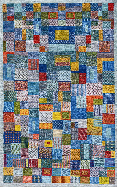 Squares Revisited 22 web Gabbehs Geometric Kashkuli 120 x 194cm